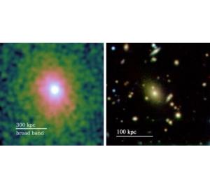 Чудовищная прожорливая черная дыра прячет за собой сотни галактик